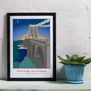 Menai Bridge Night Time, Isle Of Anglesey Print - whatsnew