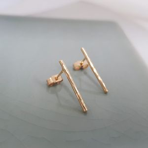 Hammered Bar Studs In Gold