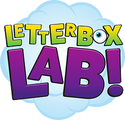 Letterbox Lab logo on blue cloud border
