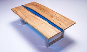 Resin River Coffee Table On Steel Base - coffee tables