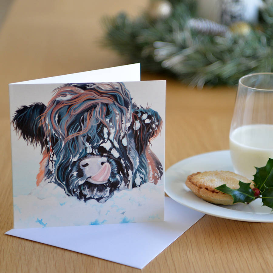 snowy highland cow card by lauren\'s cows | notonthehighstreet.com