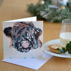 Snowy Highland Cow Card