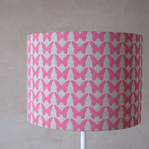 Pink Or Aqua Butterfly Linen Lampshade - bedroom
