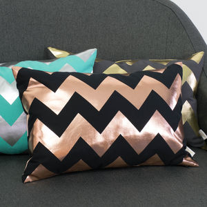 Metallic Chevron Cushion In Black And Copper - cushions
