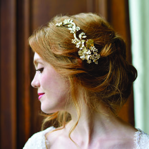 Gold Enamelled Floral Hair Clip - wedding fashion