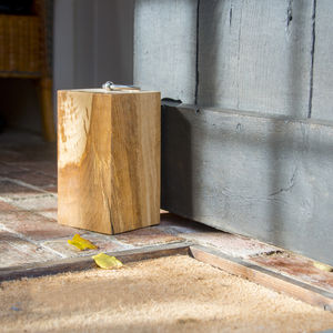Personalised Oblong Oak Door Stop - living room