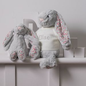 Personalised Blossom Grey Bunny Soft Toy