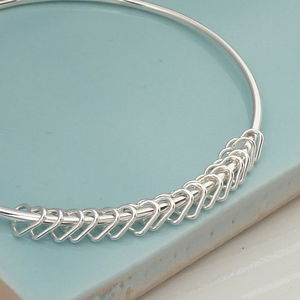 16th Birthday Handmade Silver Hearts Bangle