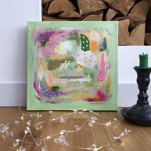 Abstract Art Green Colourful Painting On Canvas - paintings