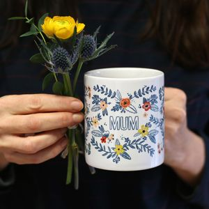 Personalised Floral Design Mug - gifts for grandmas
