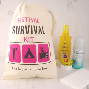 Personalised Festival Survival Kit Bag
