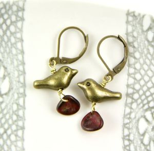 Little Bronze Bird And Red Petal Earrings