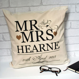 Personalised Wedding Anniversary Scroll Cushion