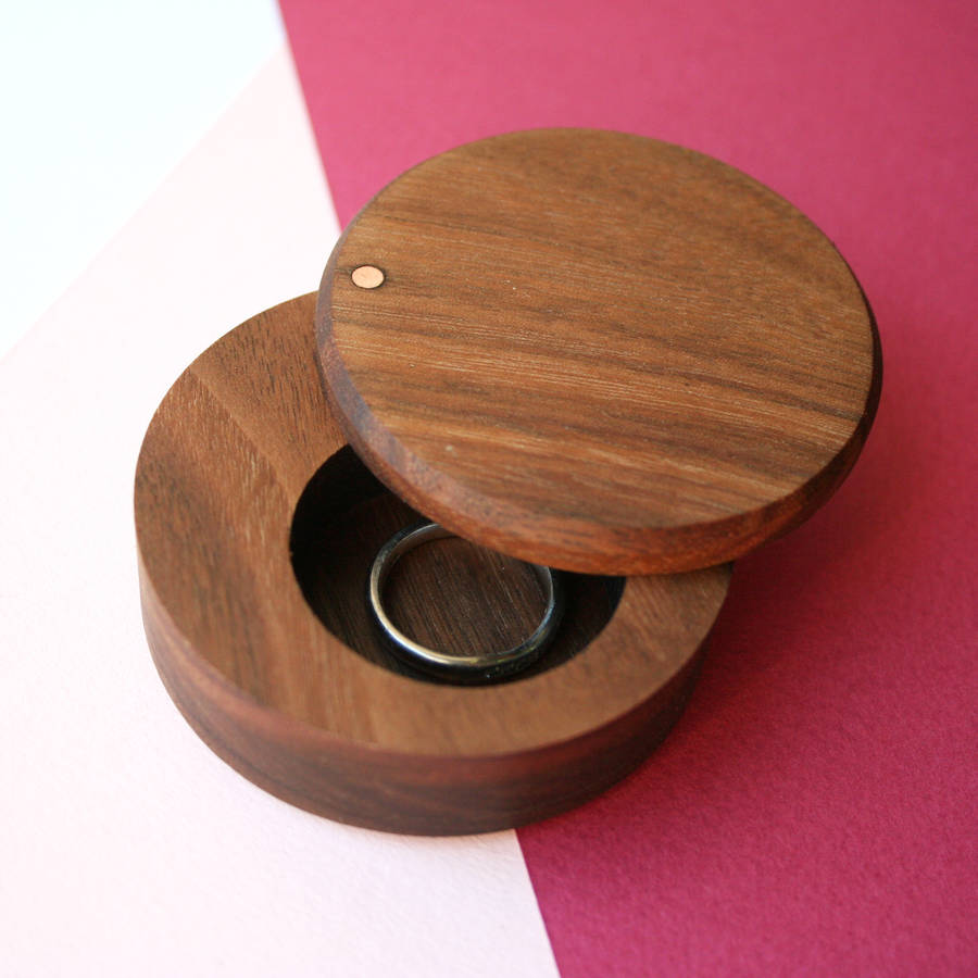 Walnut wood round ring box by wood paper scissors for Wooden ring box