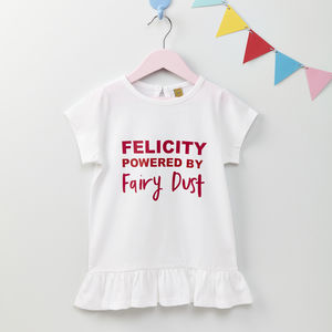 Girls Personalised Fairy Dust T Shirt