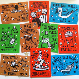 Mixed Pack Of 10 Funny Christmas Cards - cards & wrap