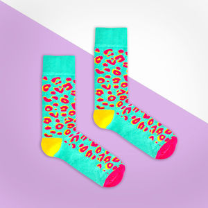 Turquoise And Pink Leopard Print Sock - men's fashion