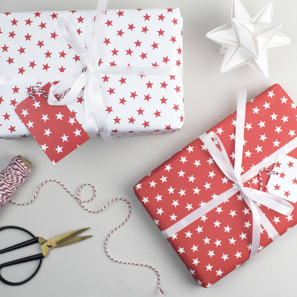 Christmas Gift Packing: Red Star Christmas Wrapping Paper By The Two Wagtails