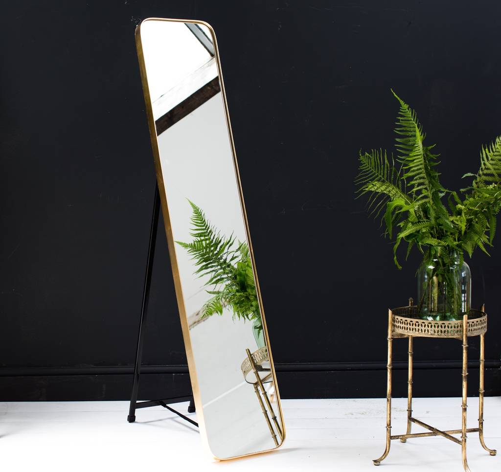 Gold framed full length mirror by the forest co for Full length mirror in living room