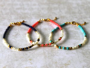 Children's Semi Precious Stone And Brass Bead Bracelet - bracelets