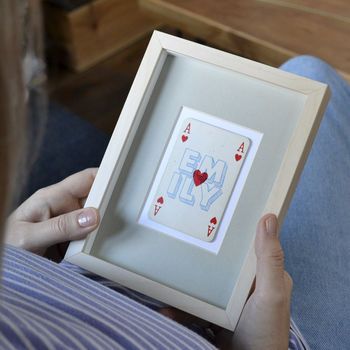 Personalised ace of hearts vintage playing card print