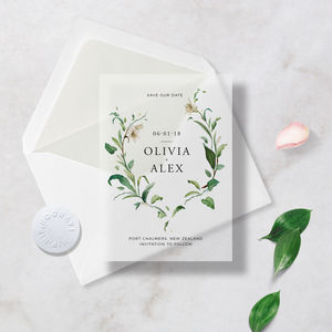 Translucent Vellum Save The Dates, Envelope And Sticker