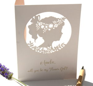 Boho Flower Girl Personalised Card - be my bridesmaid?