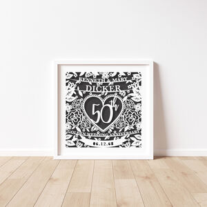 Personalised Anniversary Paper Cut Unframed Print
