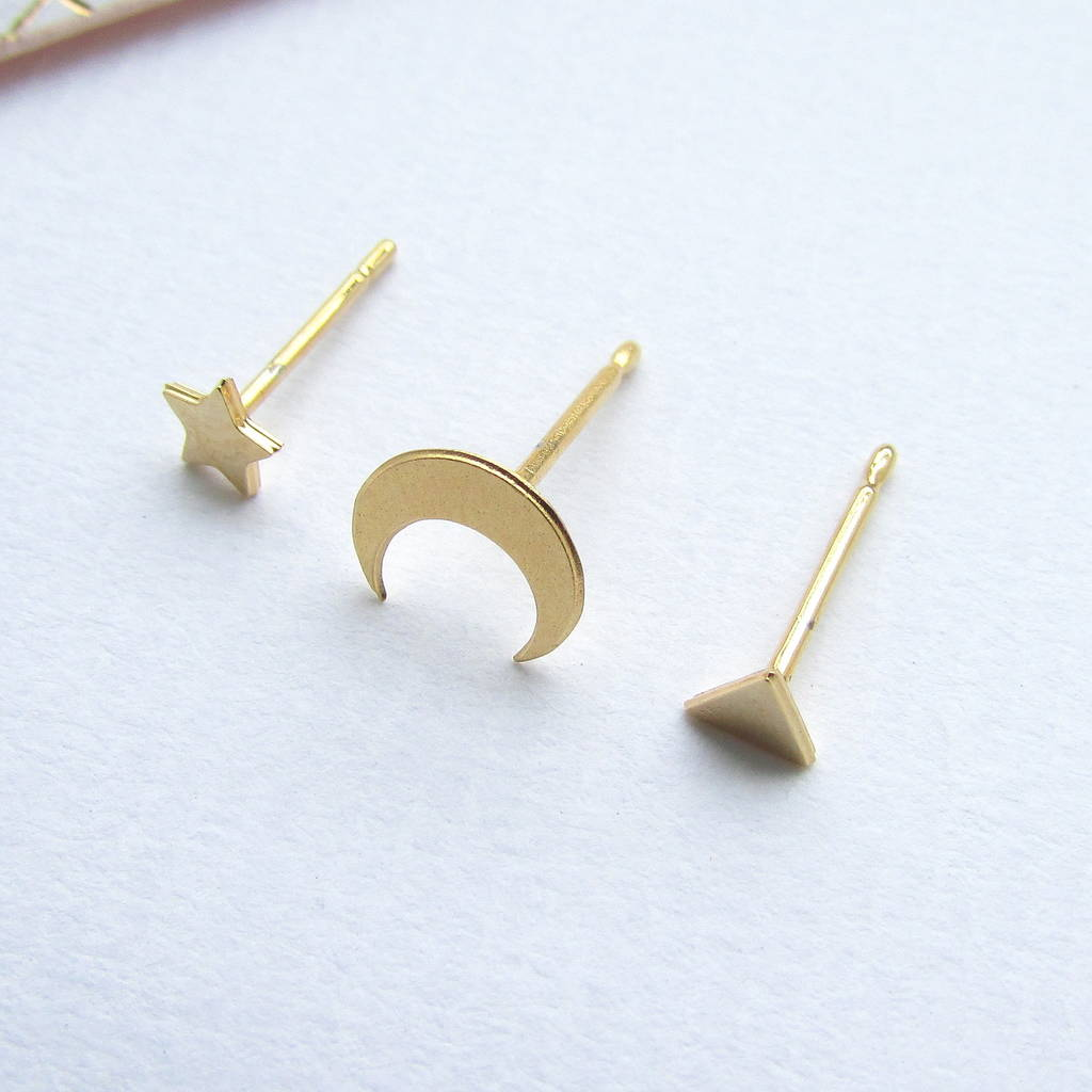Tiny Gold Mismatched Ear Studs Set