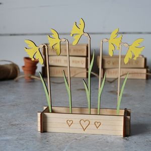 Personalised Wooden Daffodil Window Box - original gifts for mum