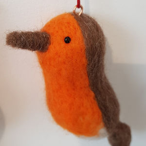 Needle Felt Robin Hanging Decoration - tree decorations