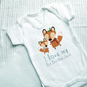 Personalised Winter Fox Sibling Vest - gifts for babies