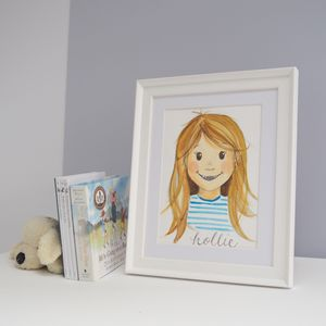 Child's Portrait Illustration, Hand Drawn Original