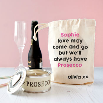 Personalised Mum's Prosecco Candle In Gift Bag
