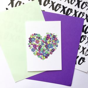 Colourful Floral Love Heart Card