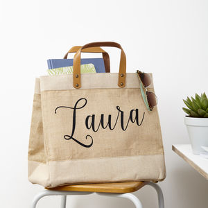Personalised Name Jute Storage Bag - laundry room