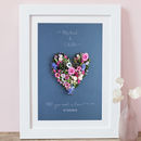 Personalised Floral Heart Wedding Name And Date Print