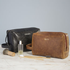 Personalised Leather Wash Bag - wash & toiletry bags