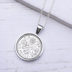 Lucky Sixpence Year Coin Necklace 1928 To 1967 - 70th birthday gifts