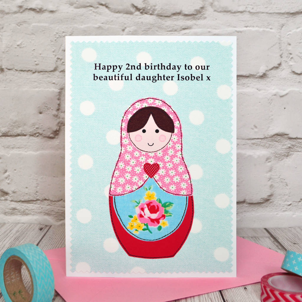 Russian Doll Personalised Girls Birthday Card