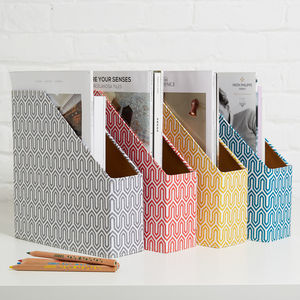 Recycled Graphic Print Magazine File Holder - living room