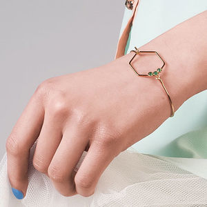 Delicate Gold Hexagon Bracelet