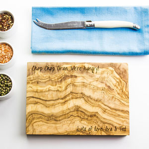 Personalised Olive Wood Chopping Board - gifts for him