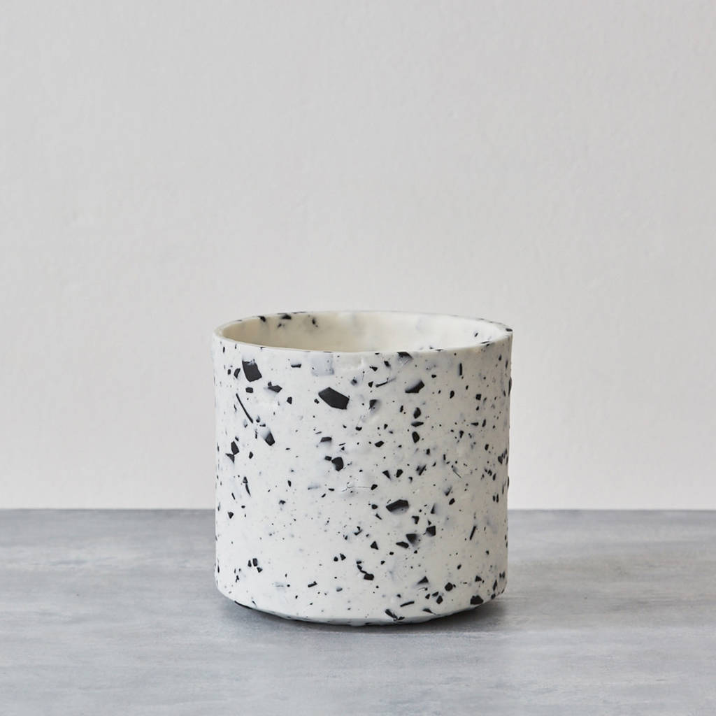 handmade porcelain terrazzo cache pot by sevak zargarian. Black Bedroom Furniture Sets. Home Design Ideas