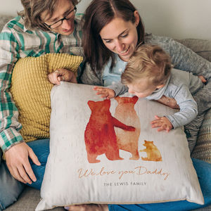 Personalised Bear Family Faux Suede Cushion - best wedding gifts