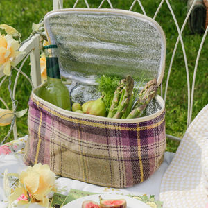 Purple Tartan Cooler Bag - picnicware