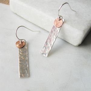 Hammered Silver Rectangle Earrings