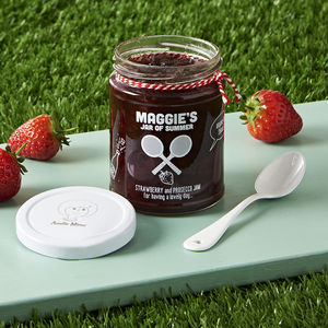 Personalised Strawberry And Prosecco Tennis Jam