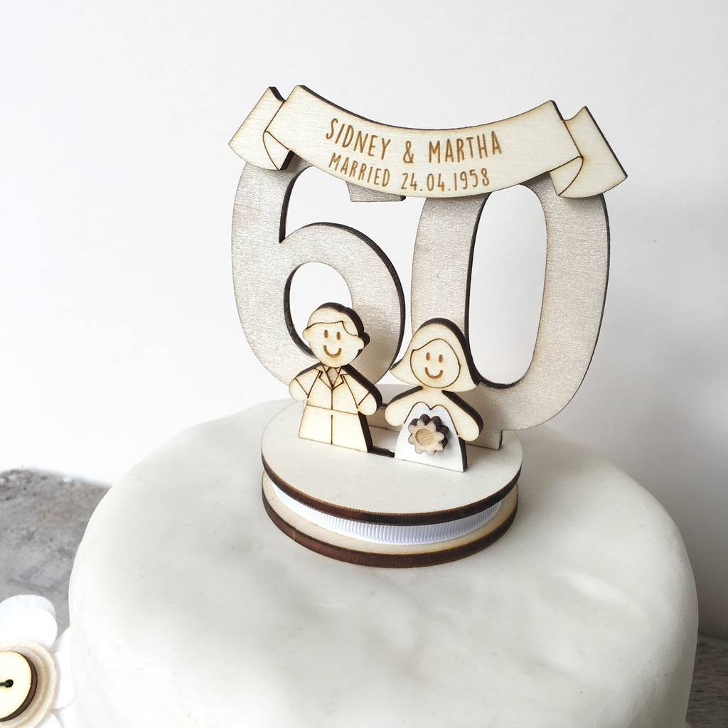 personalised 60th wedding anniversary cake topper by just ...