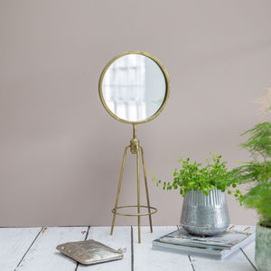 Antiqued Gold Tripod Table Mirror